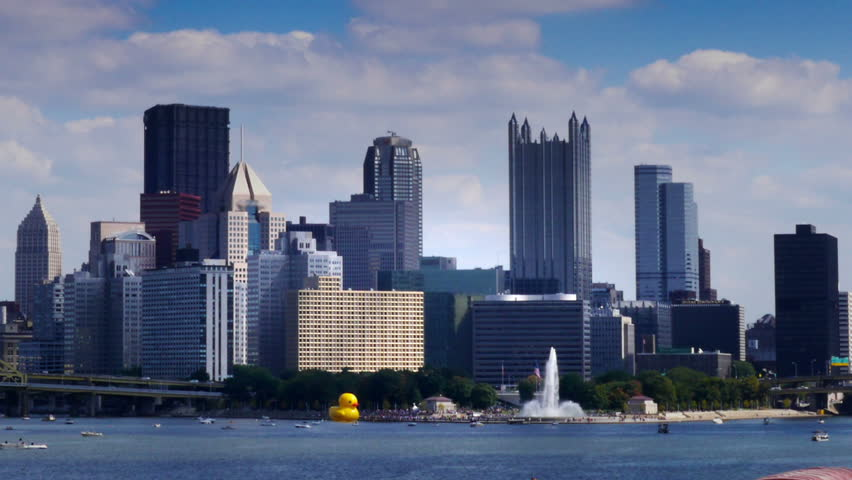 A time lapse shot of the Pittsburgh city skyline as seen from the West End