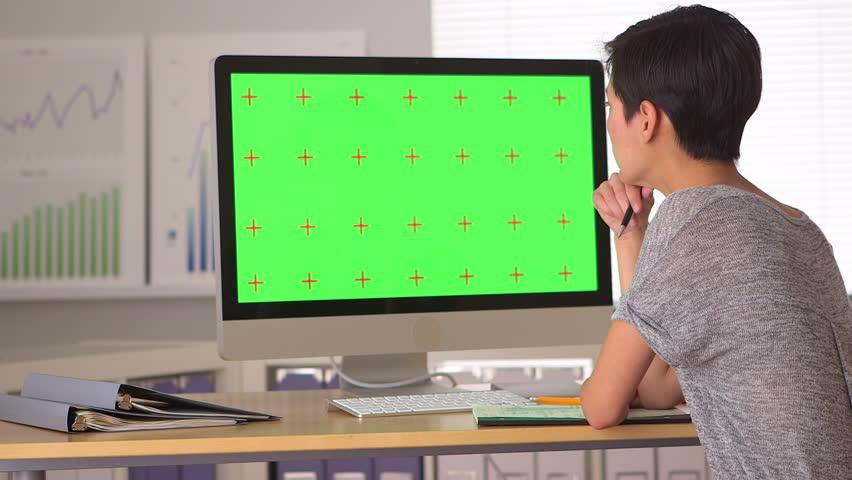 Chinese businesswoman analyzing green screen | Shutterstock HD Video #4783529