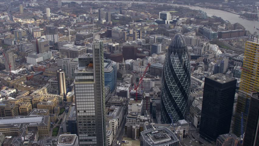 Panoramic aerial view of the City of London Financial District. #4797452