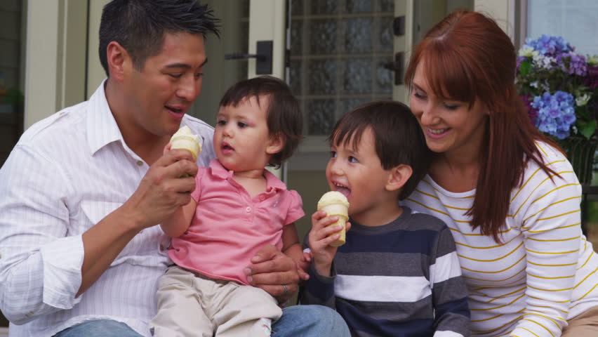 family eating ice cream - HD stock footage clip