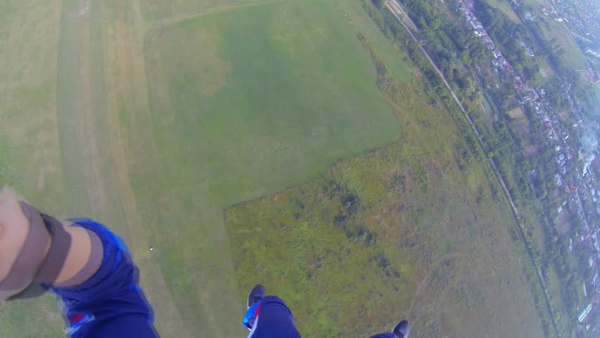 video parachute jumps (skydiving) from a first-person - HD stock footage clip