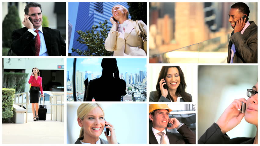 Montage of successful multi-ethnic managers using smart phone technology in city