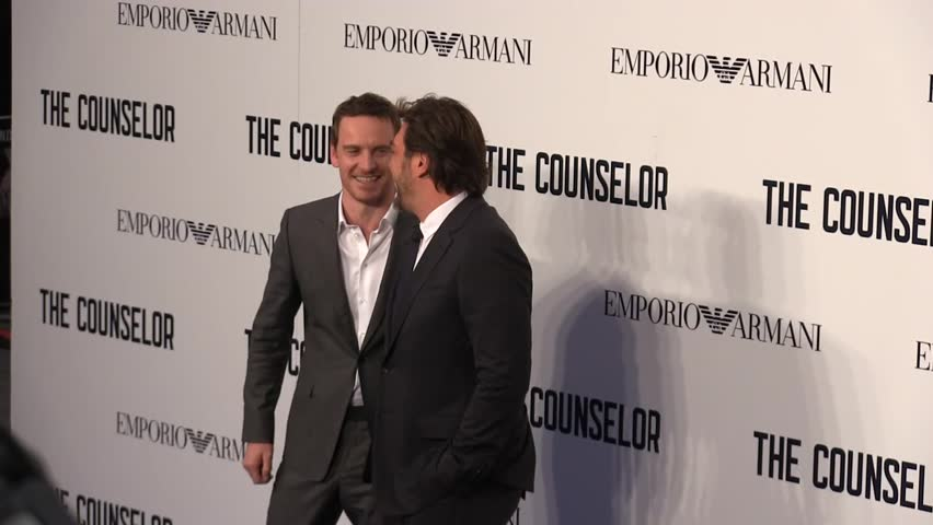 LONDON -OCTOBER 03: Michael Fassbender and Javier Bardem attend a special screening of 'The Counselor' at Odeon West End on October 03, 2013 in London - HD stock video clip