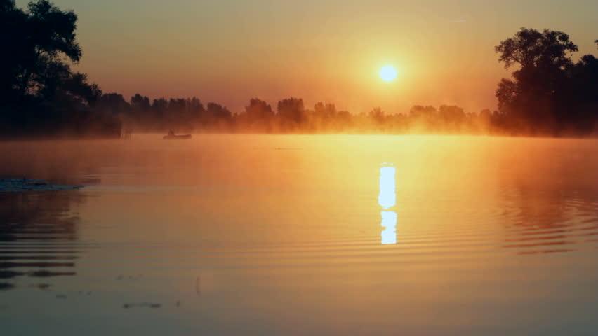 sunrise on the lake, sunrise over river, Fisherman on the boat on the sunrise, morning Landscape, morning fishing