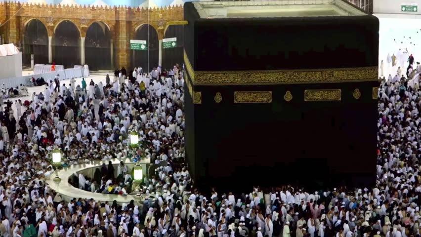 Muslim Pilgrims Circumambulate The Kaaba At Masjidil Haram