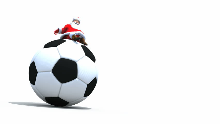 Santa claus is playing with a soccer ball stock footage