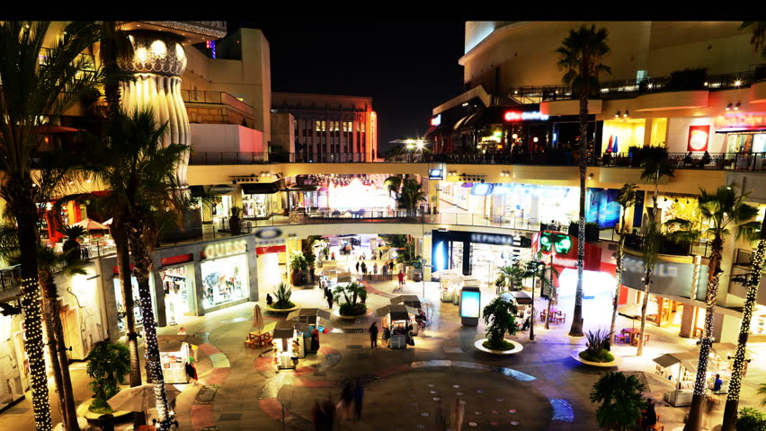 HOLLYWOOD, California - September 18th: Time lapse of shoppers gather at a mall at night on September 18th in Hollywood.
