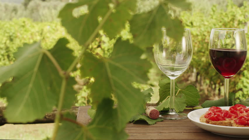 Filling Glasses with Wine in Vineyard. v5. Close-Up. Shot on RED Digital Cinema Camera in 4K (ultra-high definition (UHD)), so you can easily crop, rotate and zoom, without losing quality  - 4K stock footage clip