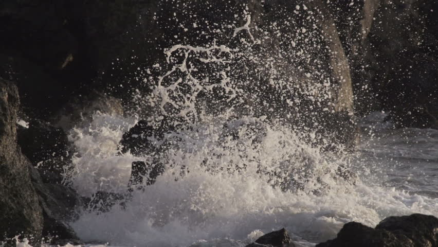 Slow motion. waves from the sea. - HD stock footage clip