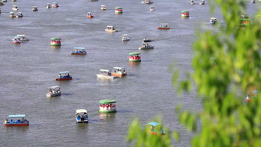 taking boat on the lake,Beihai park,Beijing - HD stock video clip