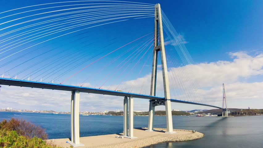 cable-stayed bridge to Russian Island. Vladivostok. Russia. Vladivostok is the