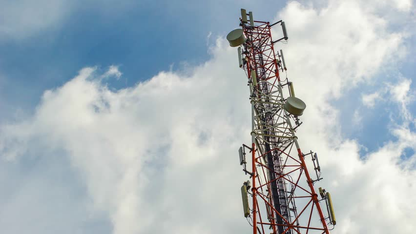 Communication tower and cloud timelapse - HD stock video clip