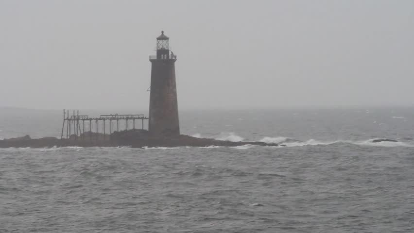 Deserted Ram Island Ledge Lighthouse off Portland, Maine #4880819