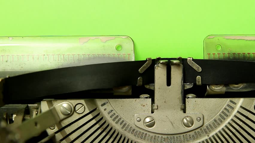 close up typewriter type blank sign on green screen paper