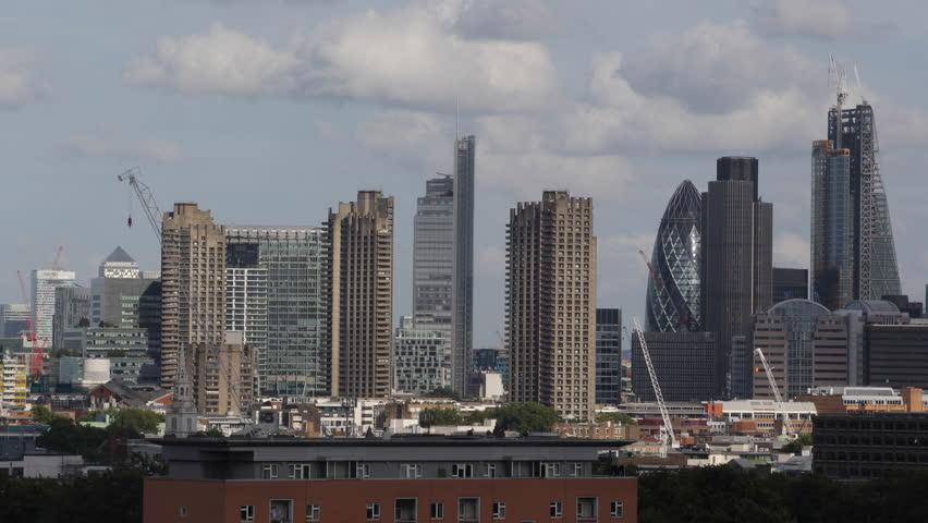 Aerial View City London Skyscrapers, Skyline Canary Wharf Gherkin 30 st Mary Axe - HD stock footage clip