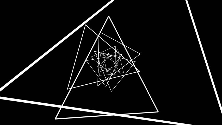 Geometric Spiral White Triangles Abstract Motion Black Background