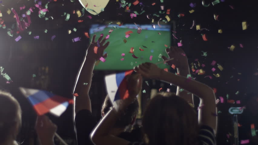 People are watching football at the bar cheer slow motion | Shutterstock HD Video #4908395