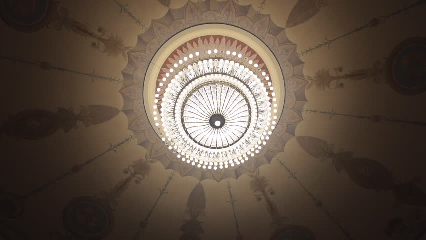 The huge chandelier in the theater - HD stock footage clip