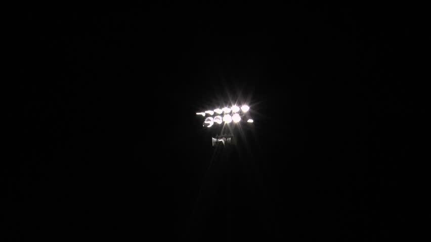Stadium Light Zoom In, Black Background. 1080p Stock