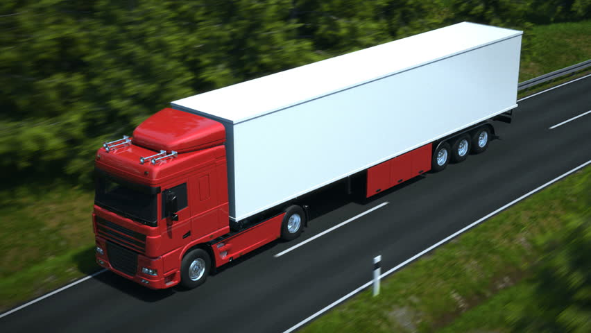Truck driving along country road - high quality 3d animation