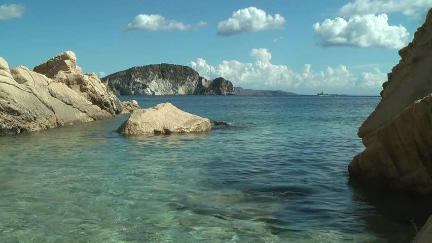 sea with boat - HD stock video clip