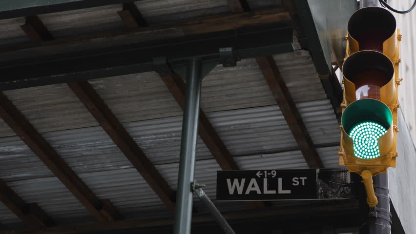 Wall Street Sign, Green and Red Light Traffic,  New York City, Downtown, Financial District