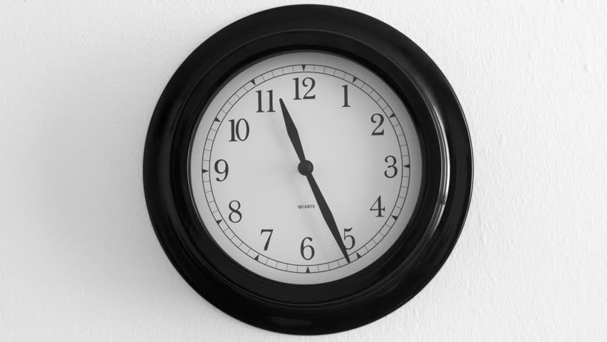 Clock Black On The Wall, 12:00 Stock Footage Video