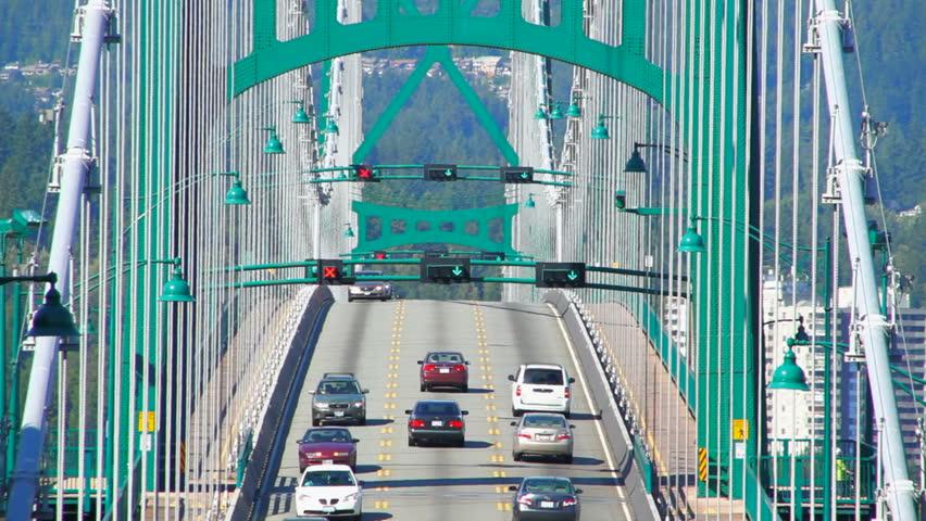 Bridge traffic on Lions Gate Bridge in Vancouver, BC. #4943675