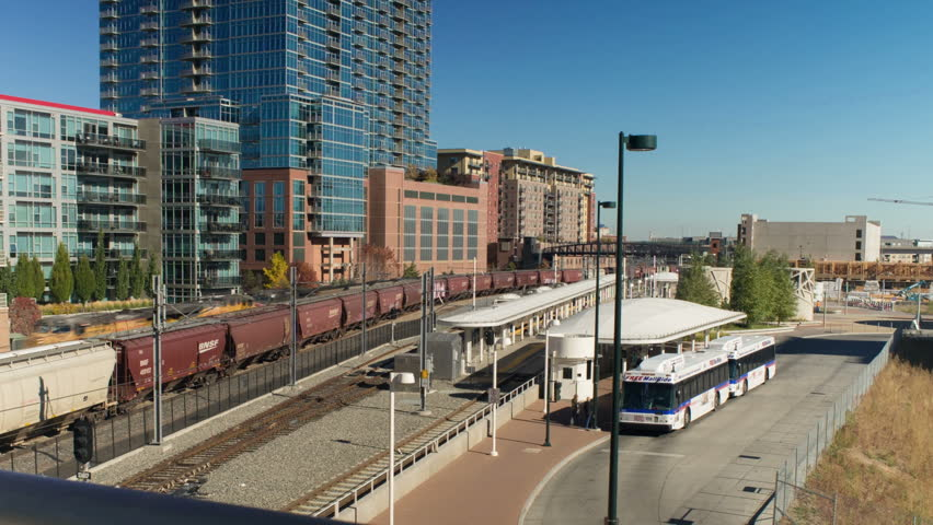 Motion dolly timelapse of RTD mass transit station in downtown Denver, Colorado.