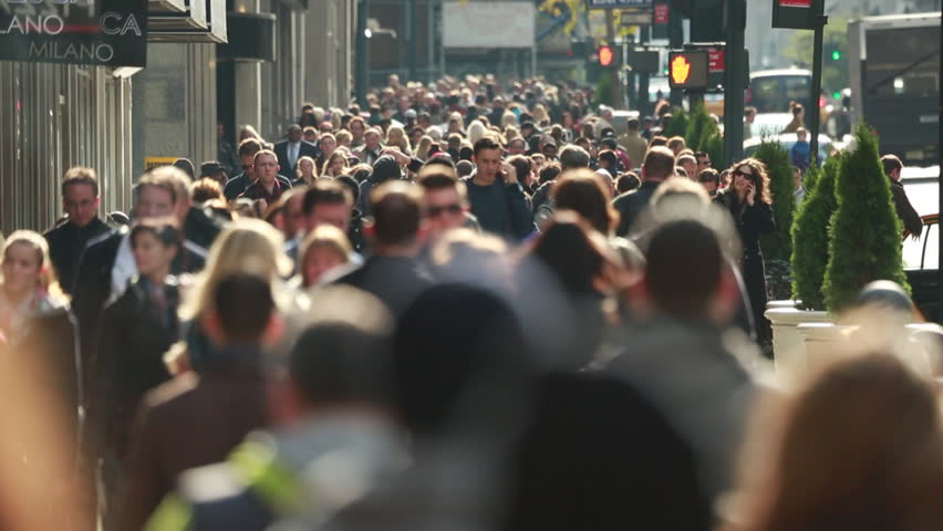 NEW YORK - CIRCA OCTOBER 2013: Crowd of people walking on busy street | Shutterstock HD Video #4972466