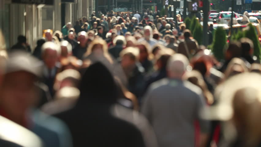 Anonymous crowd of people walking on New York City street | Shutterstock HD Video #4974788