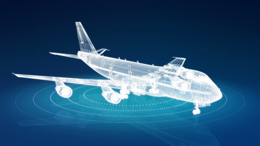 Animation of passenger airplane wireframe rotating. Seamless loop. - HD stock video clip