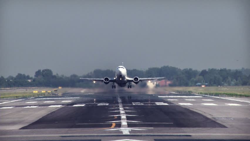 Commercial jet plane takeoff