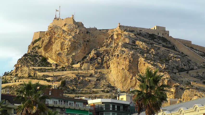 Alicante Spain Santa Barbara Castle On Hill Stock Footage ...