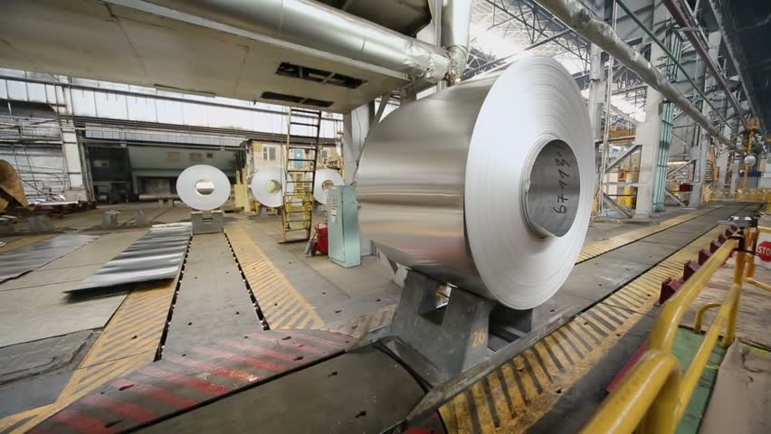 Transporter moves big roll of aluminum in workshop | Shutterstock HD Video #5011247