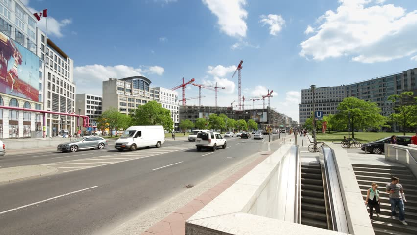 A large group of red building cranes in Leipziger Platz. A common sign of the rapidly changing face of the capital city of Germany, Berlin. - HD stock video clip