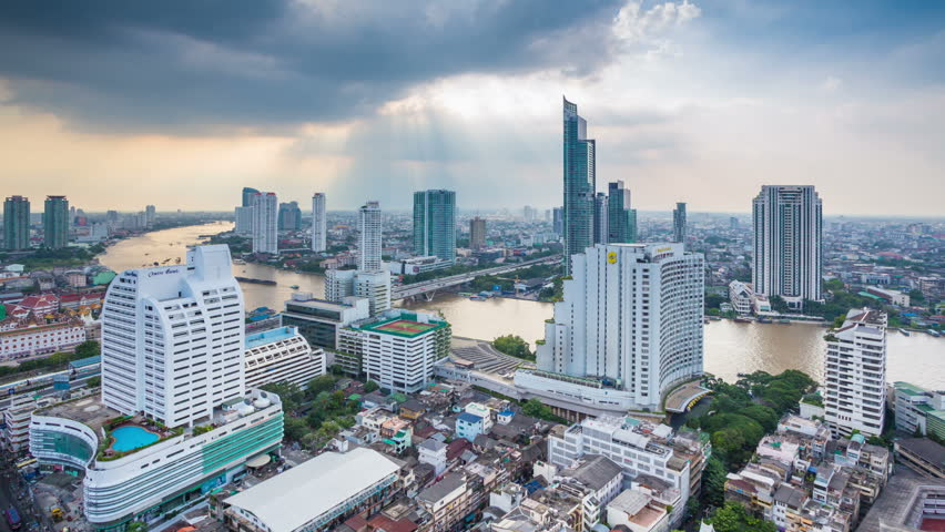 BANGKOK - NOV 2: View of the business area on 2 November, 2013 in Bangkok, Thailand. Bangkok is the most populated city in Southeast Asia with one sixth of population live and visit Bangkok every day  - HD stock footage clip