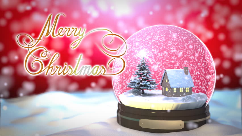 Christmas Snow globe Snowflake with Snowfall on Red Background - HD stock video clip