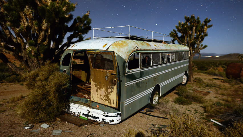 Time Lapse of Abandon Bus in the Desert  at Night - HD stock video clip