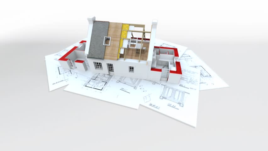 The Process Of Building A House Cg Animation Stock