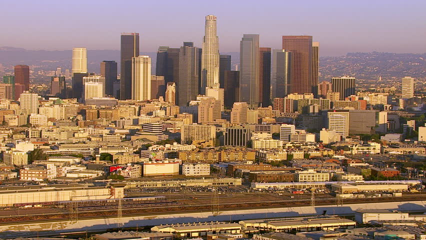 Los Angeles, California, USA - March 22, 2012: Aerial shot of downtown Los Angeles at sunrise | Shutterstock HD Video #5054114
