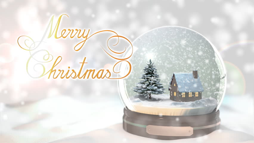 Merry Christmas Background by Christmas tree and house in Snow globe Snowflake with Snowfall scene - HD stock footage clip
