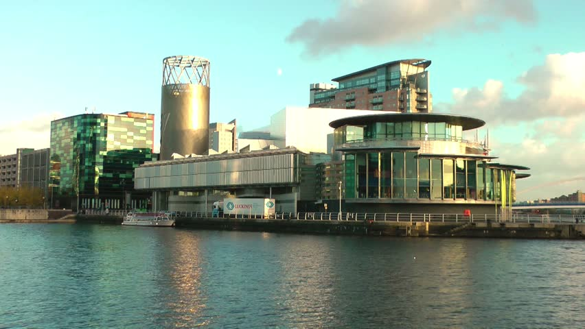 MANCHESTER - CIRCA 2013 Modern Urban City Landscape - Lowry Centre, Salford Keys, Manchester England