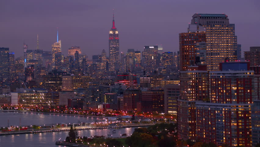 New York City, NY - October 26, 2012: Aerial shot of New York Harbor and skyline