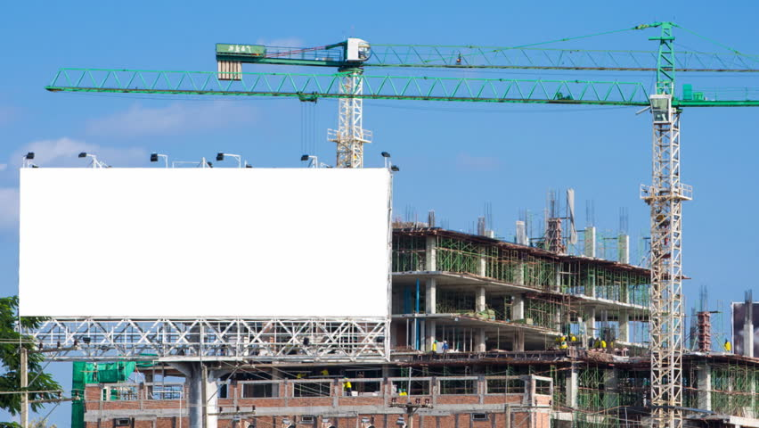 time lapse construction site and big billboard white color
