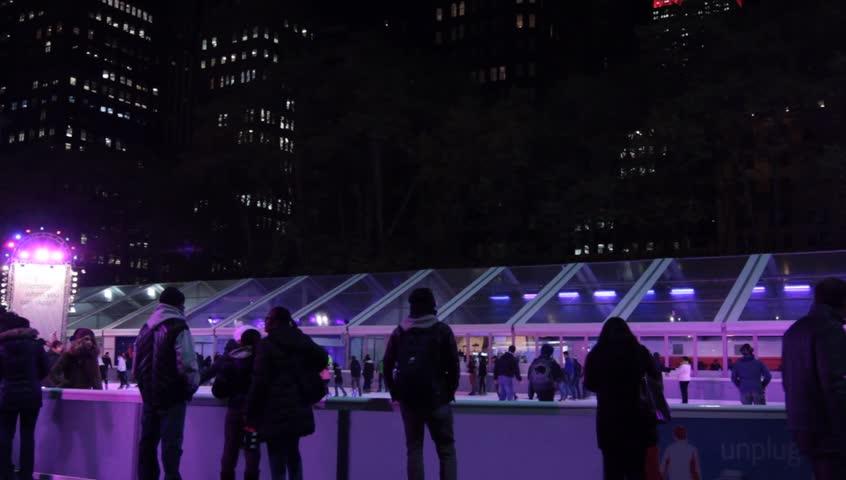 NEW YORK - CIRCA NOV 2013:Bryant Park Skating Rink November 2013 - HD stock footage clip