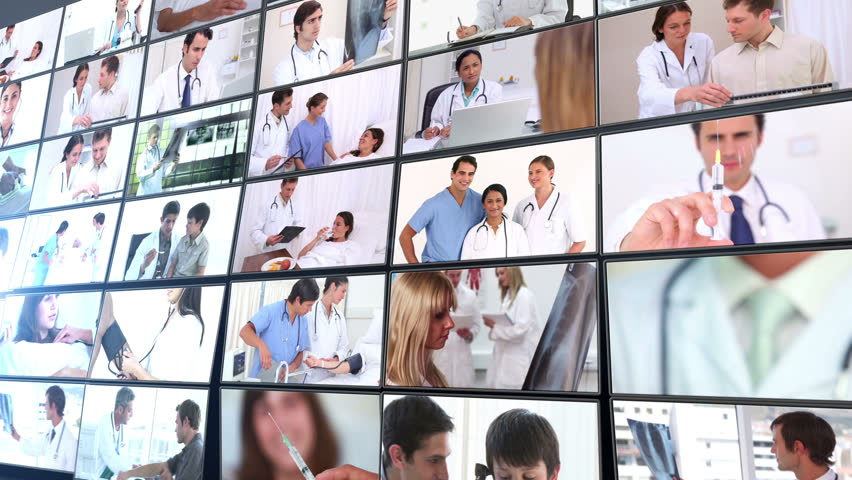 Short clips showing doctors working in hospital on black background