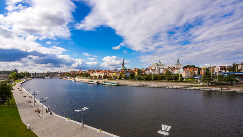 SZCZECIN - 28 NOV: Timelapse of Szczecin or Stettin city landmarks in Poland on 28 November 2013 in Szczecin, Poland | Shutterstock HD Video #5069549