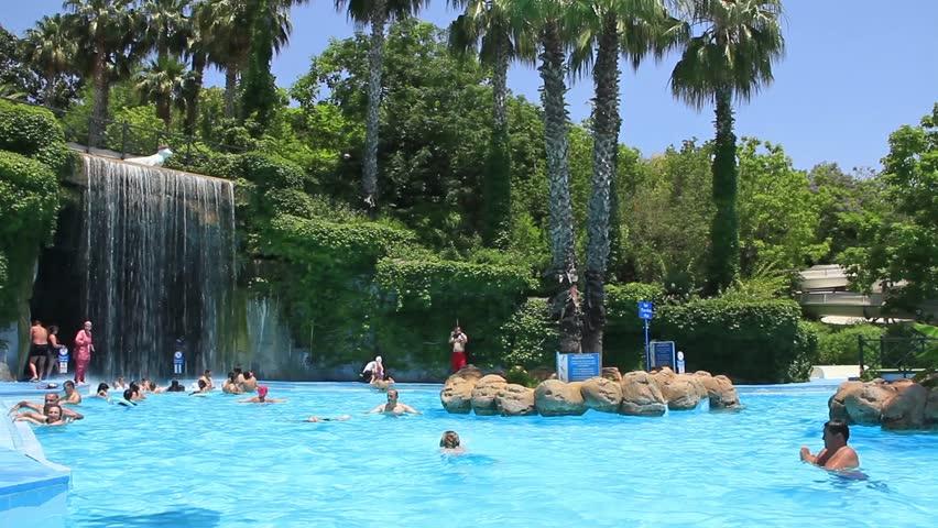 video clip stock fooe turkey antalya june going down slide waterpark people inside aquapark