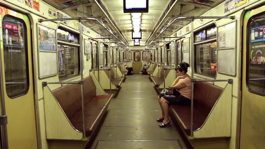 UKRAINE, KIEV, MARCH 7, 2011: Woman inside a transit vehicle in Kiev, Ukraine, March 7, 2011 - HD stock video clip